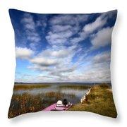 Pink Boat In Scenic Saskatchewan Throw Pillow