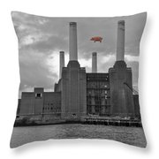 Pink Floyd Pig At Battersea Throw Pillow