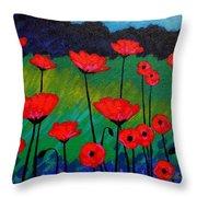 Poppy Corner Throw Pillow by John  Nolan