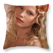 Portrait Of A Beautiful Young Woman Throw Pillow