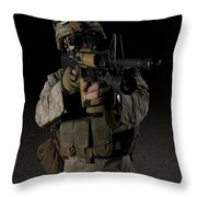 Portrait Of A U.s. Marine Wearing Night Throw Pillow