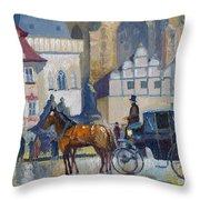 Prague Old Town Square 01 Throw Pillow by Yuriy  Shevchuk