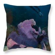 Purple Elephant Ear Sponge With Diver Throw Pillow