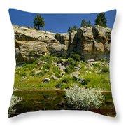 Reflecting Cliffs Throw Pillow