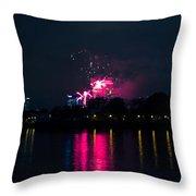 River Thames Fireworks Throw Pillow