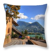 Road And Mountain Throw Pillow