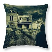Scary Abandoned House On Hill Throw Pillow