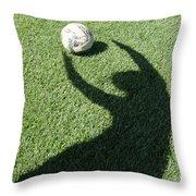 Shadow Playing Football Throw Pillow
