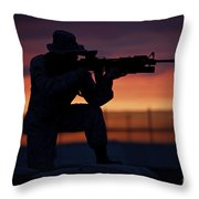 Silhouette Of A U.s Marine On A Bunker Throw Pillow