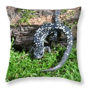 Slimy Salamander Throw Pillow