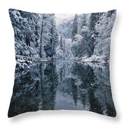 Snow-covered Trees Reflected Throw Pillow