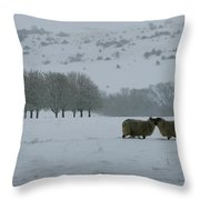 Snowy Hello Throw Pillow