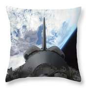 Space Shuttle Endeavours Payload Bay Throw Pillow by Stocktrek Images