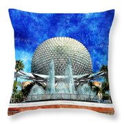 Spaceship Earth And Fountain Of Nations Throw Pillow