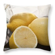 Still Life Of Bottles  And Lemons Throw Pillow