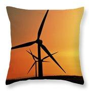 Sun Glare Upon Alberta Windfarm Throw Pillow