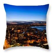 Sunset Over A City Nice Illuminated Throw Pillow