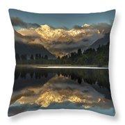 Sunset Reflection Of Lake Matheson Throw Pillow