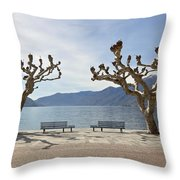 sycamore trees in Ascona - Ticino Throw Pillow