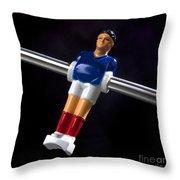 Tabletop Soccer Figurine Throw Pillow by Bernard Jaubert