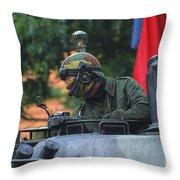Tank Commander Of A Leopard 1a5 Mbt Throw Pillow