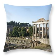 Temple Of Saturn In The Forum Romanum. Rome Throw Pillow by Bernard Jaubert