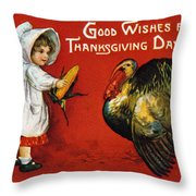 Thanksgiving Card, 1900 Throw Pillow