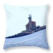 The Lighthouse Close To Primosten Throw Pillow