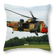 The Sea King Helicopter Of The Belgian Throw Pillow