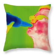 Thermogram Of A Man Drinking Throw Pillow