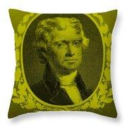 Thomas Jefferson In Yellow Throw Pillow