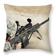 U.s. Army Soldier Fires A Barrett M82a1 Throw Pillow