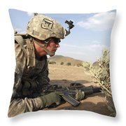 U.s Army Specialist Provides Security Throw Pillow