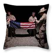 U.s. Marines Fold The American Flag Throw Pillow