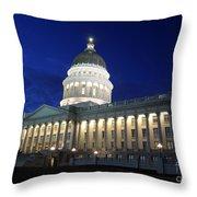 Utah Capitol Building At Twilight Throw Pillow