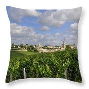 Village And Vineyard Of Saint-emilion. Gironde. France Throw Pillow