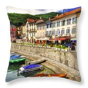 Village On The Lake Front Throw Pillow