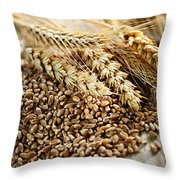 Wheat Ears And Grain Throw Pillow