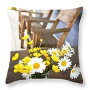 Wildflowers Bouquet At Cottage Throw Pillow