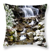 Winter Waterfall Back Fork Of Elk River Throw Pillow