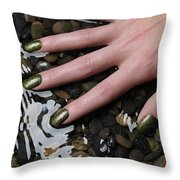 Woman Hand In Water Throw Pillow