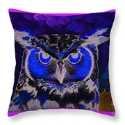 2011 Dreamy Horned Owl Negative Throw Pillow by Lilibeth Andre