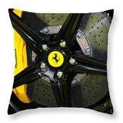 2012 Ferrari 458 Spider Brake Pad Yellow Throw Pillow