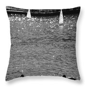 2boats2ducks In Black And White Throw Pillow