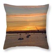 Sunrise Falmouth Docks Throw Pillow