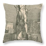 7 Wonders Of The World, Colossus Throw Pillow by Photo Researchers