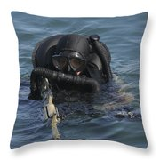 A Navy Seal Combat Swimmer Throw Pillow by Michael Wood