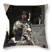 A Uh-60 Black Hawk Door Gunner Manning Throw Pillow