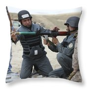 An Afghan Police Student Loads A Rpg-7 Throw Pillow