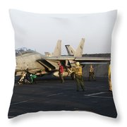 An F-14d Tomcat In Launch Position Throw Pillow